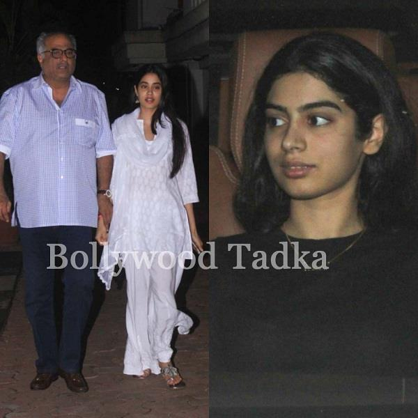 jhanvi kapoor boney kapoor and khushi kapoor spotted at juhu