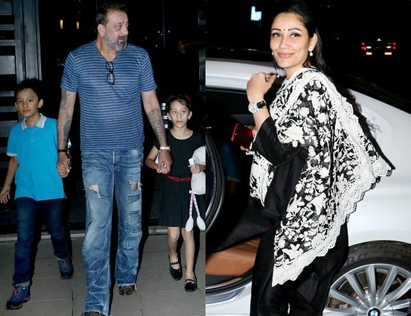 sanjay dutt and manyata dutt at lunch date with their kids