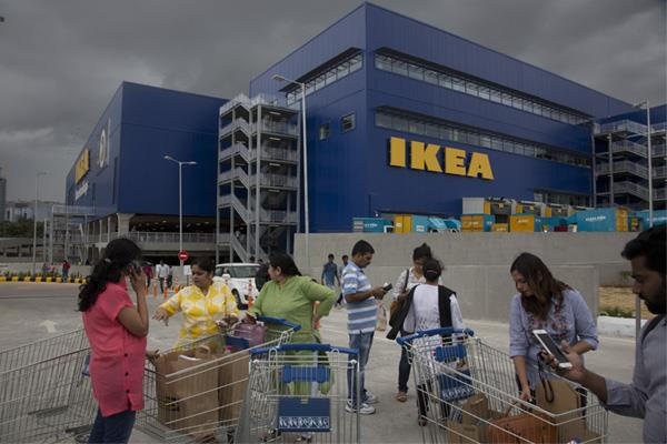 when the ikea store opens a huge crowd of customers