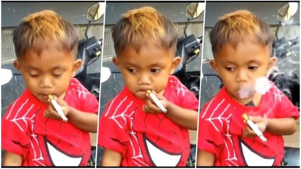 2 year old indonesian boy smokes 40 cigarettes in one day
