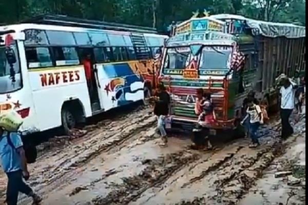bike buses in road like us 80 passenger stranded in nepal