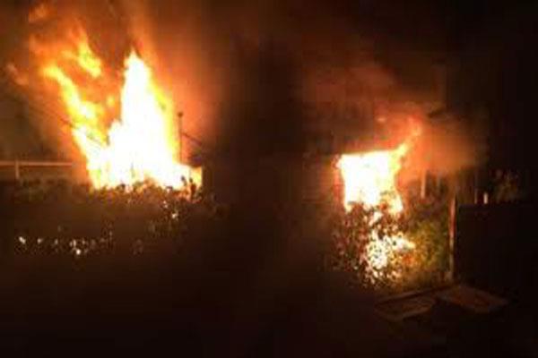 massive fire engulfs army camp near loc in machil