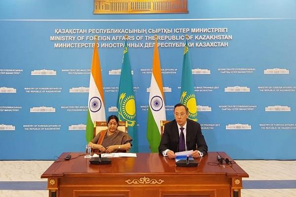 sushma swaraj meet kazakhstan foreign minister