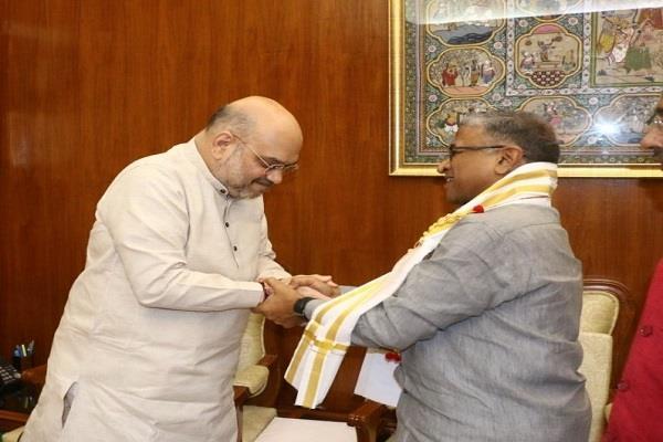 shah was greeted by harivansh as deputy speaker
