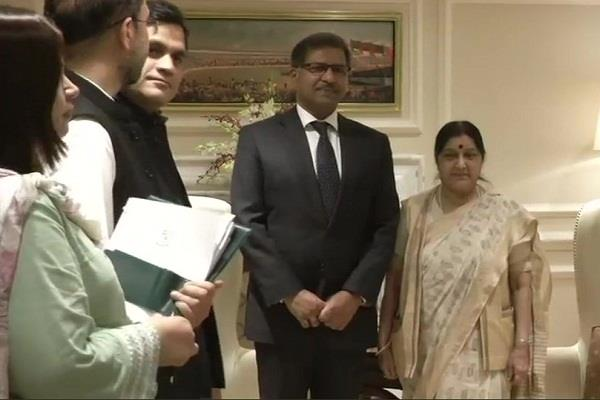 law minister of pakistan meets sushma swaraj