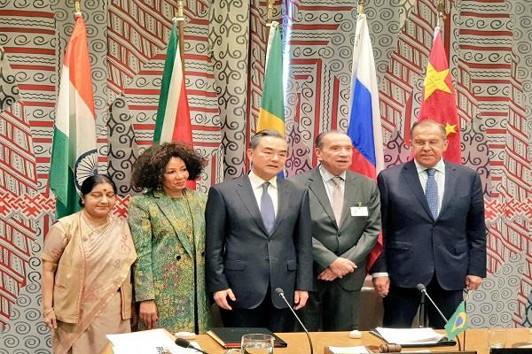 sushma swaraj discusses economy security with brics foreign ministers