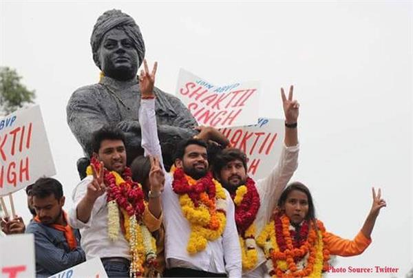 abvp s winners celebrate victory nsui accused of cheating