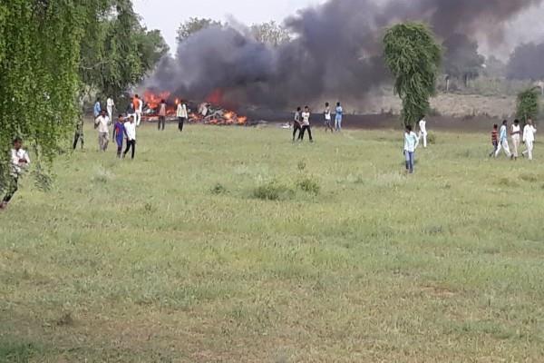 jodhpur army fighter plane burning