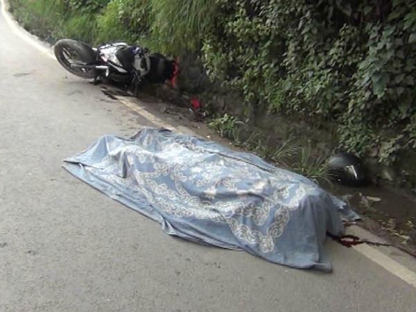 road accident tremendous collision of canter and bike