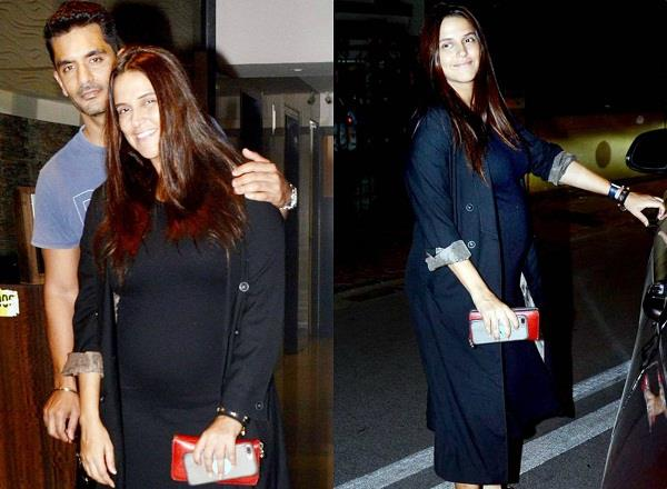 neha dhupia spotted at soha ali khan house with his husband angad bedi