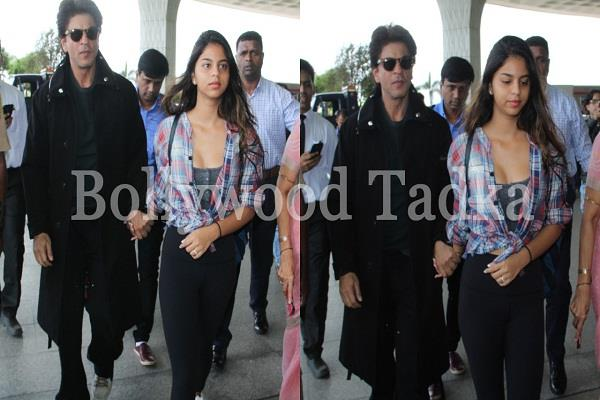 shah rukh khan spotted at airport with daughter suhana khan
