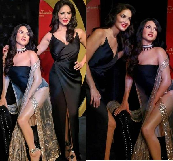 sunny leone with her statue at madam tussaud delhi
