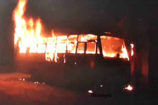 school bus fire collision accident