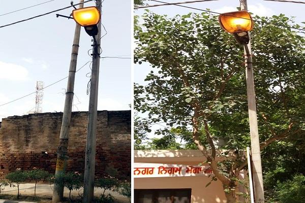 municipal corporation moga is doing a waste of electricity in its own premises