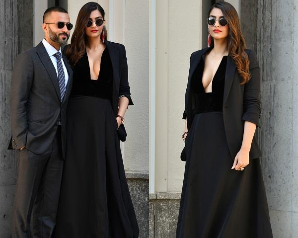 sonam kapoor with anand at fashion week