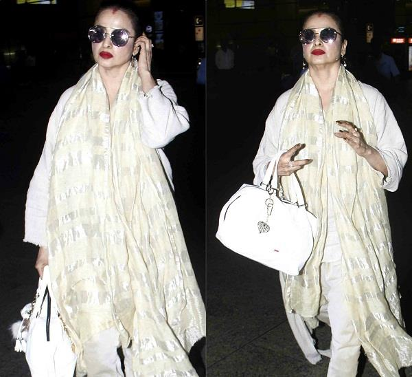 rekha spotted at airport