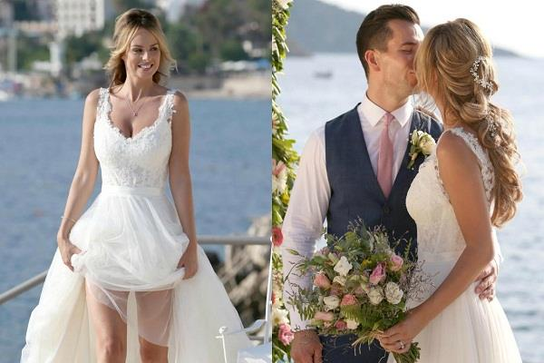वेडिंग गाउन में खूब जच रही हैं Rhian, पति के साथ किस करते रोमांटिक तस्वीरें आई सामने