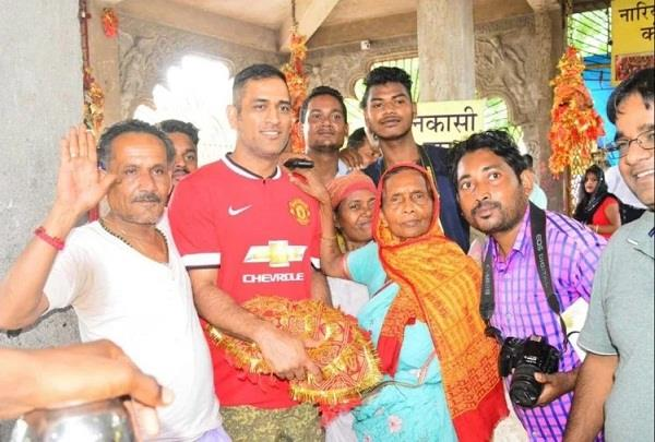 dhoni visits temple of deori mata seeking victory for asia cup