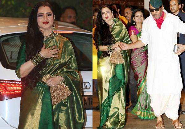 rekha and jackie shroff at ambani ganesh chaturthi celebration 2018