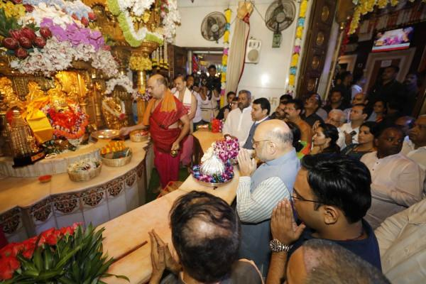 amit shah reached siddhivinayak temple