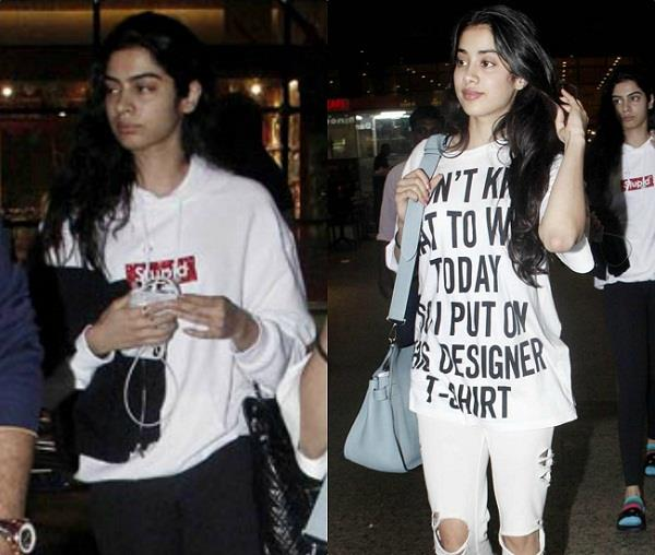 khushi kapoor spotted at airport with boney kapoor and jahnvi kapoor