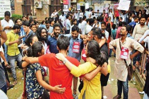 jnu student union elections  left unity  meets all four seats of central panel
