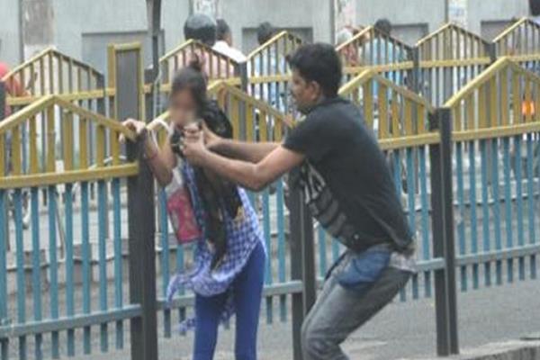 crazy man teasing women in public