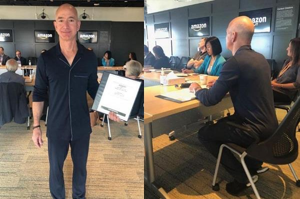 amazon ceo jeff bezos wears pajamas to board meeting