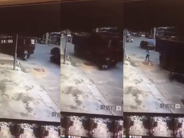 woman miraculously survives after head run over by lorry
