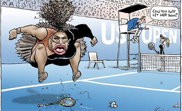 racist  cartoon of serena williams in australian newspaper condemned