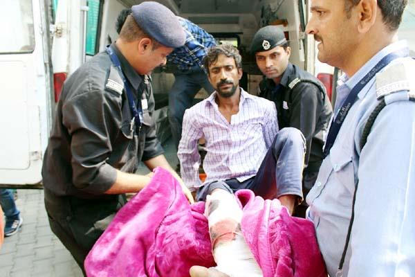 painful incident occured with labourer reached hospital in critical condition
