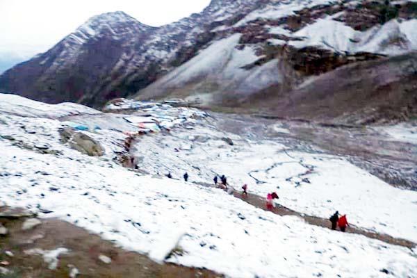 snowfall on peaks of bharmour