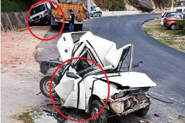 three collision truck on chamba pathankot nh vehicle damaged