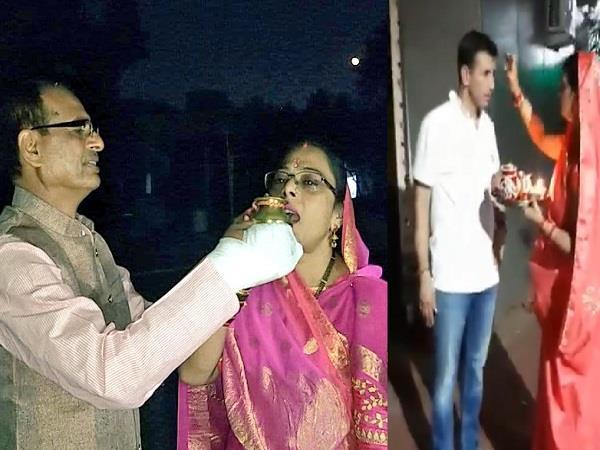 jitu patwari and shivraj celebrated karvachauth