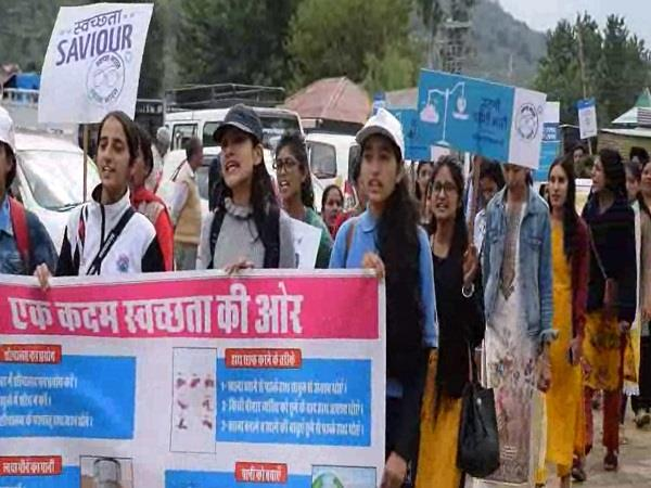 health department holds cleanliness rally for dussehra festival