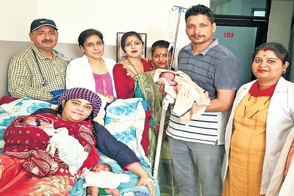 wife of bsf jawan gives birth to 3 sons