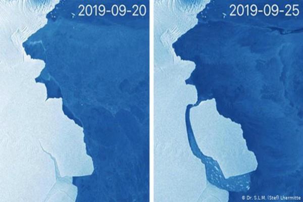 large iceberg breaks apart from antarctica