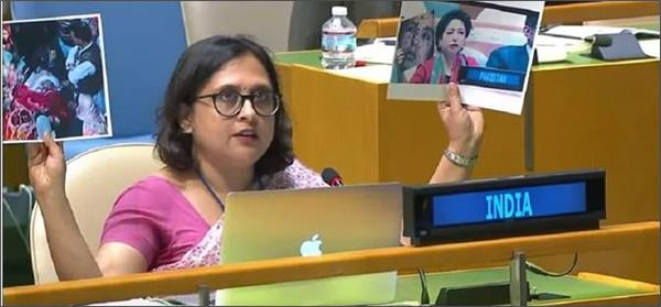 india slams pakistan for  weaponising  women s rights issues