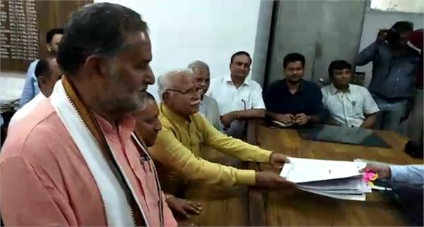 cm khattar will file nomination papers in karnal today