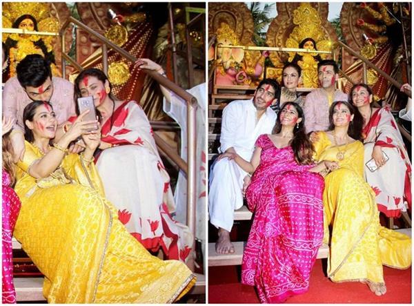 करण जौहर और मुखर्जी फैमिली ने सेलिब्रेट किया सिंदूर खेला(See Pics)