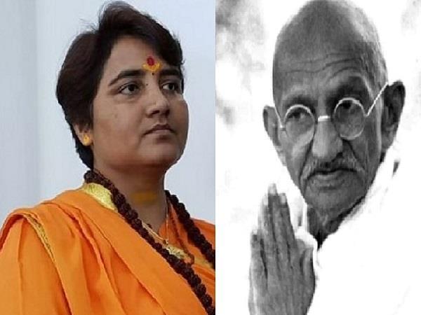 disputed statement of sadhvi pragya called gandhi  rashtraputra