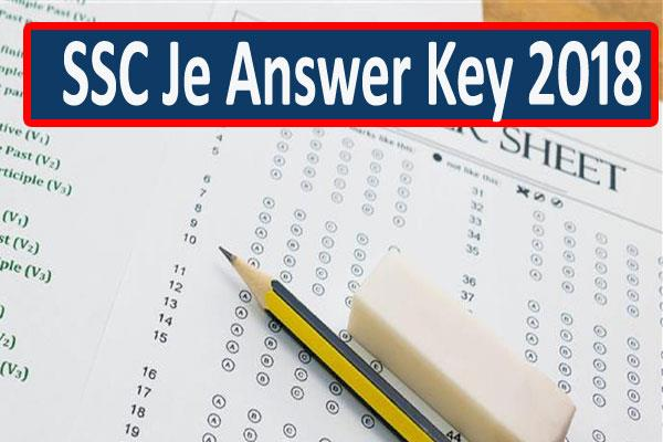 ssc je 2018 answer key of the exam released