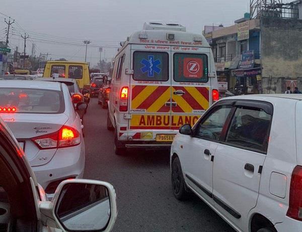 ambulance stuck in jam