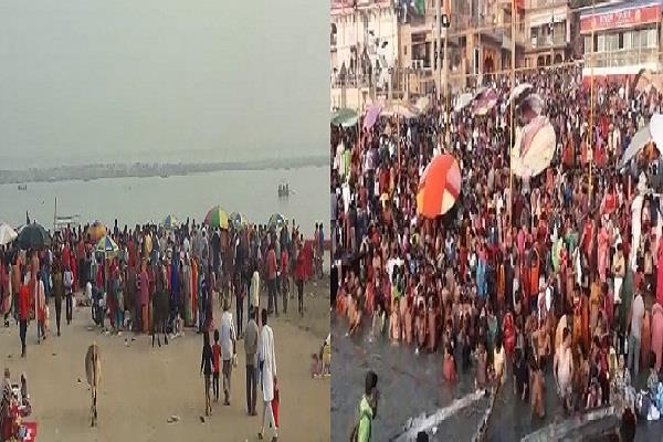 crowd in prayagraj and varanasi on the holy festival of kartik purnima