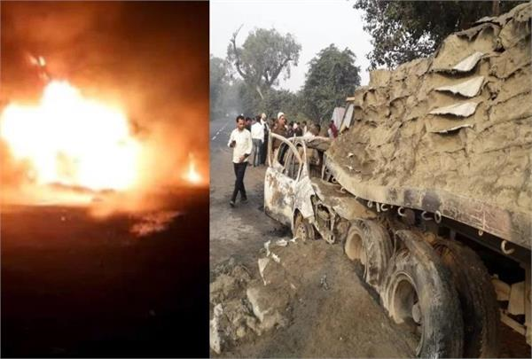5 people burnt to death in a high speed car entered into a dumper