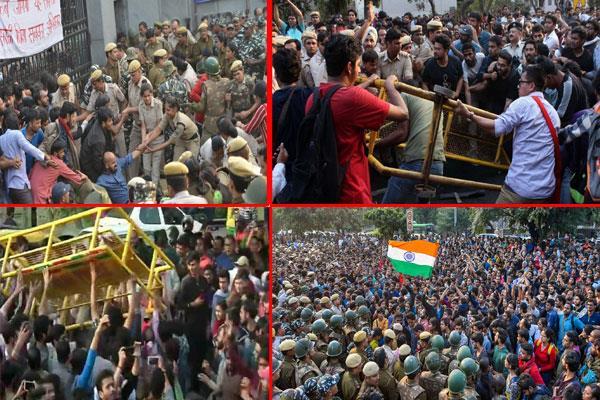 jnu students protest outside hrd ministry