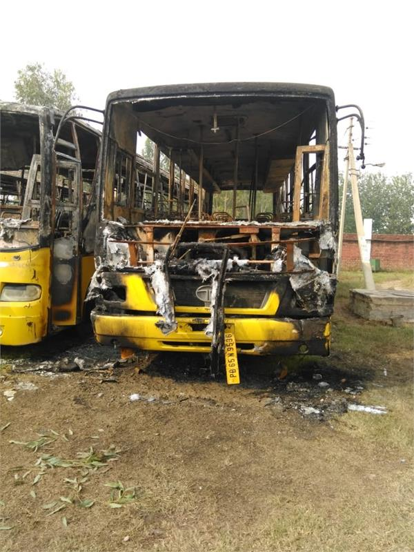 three engineering college buses caught fire in village tangori