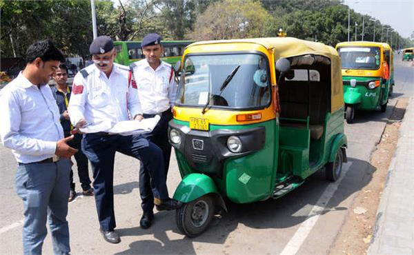 challan of autos running without pollution certificate
