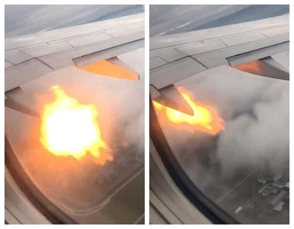 boing 777 engine spews flames makes emergency landing at lax