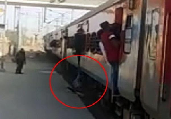 the accident happened with the person sitting at the door of the train